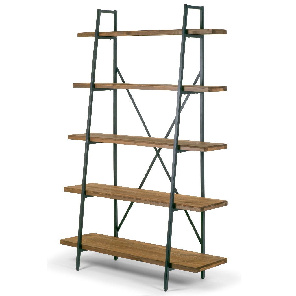 """Ailis 71.5"""" Leaning Etagere Brown Pine Wood Metal Frame Bookcase Five-shelf Media Tower - Glamour Home GHDSV-1212"""