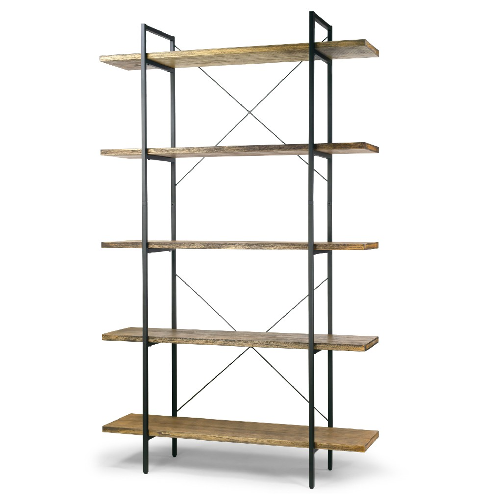 "Amrit 84.5"" Wood Shelf Metal Frame Etagere Bookcase Five-shelf Media Center - Glamour Home GHDSV-1315"