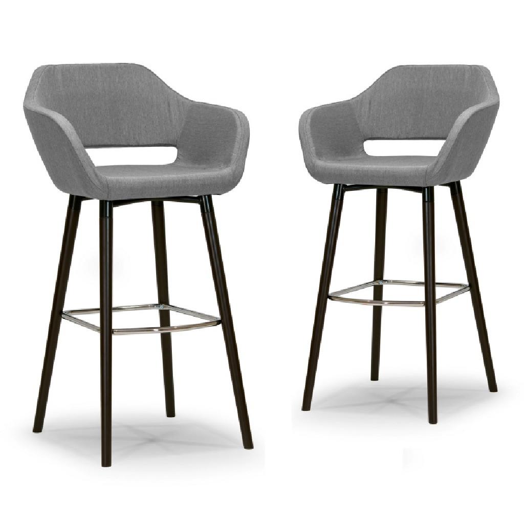 Adel Modern Grey Fabric Bar Stool w/ Beech Legs (Set of 2) - Glamour Home GHSTL-1138