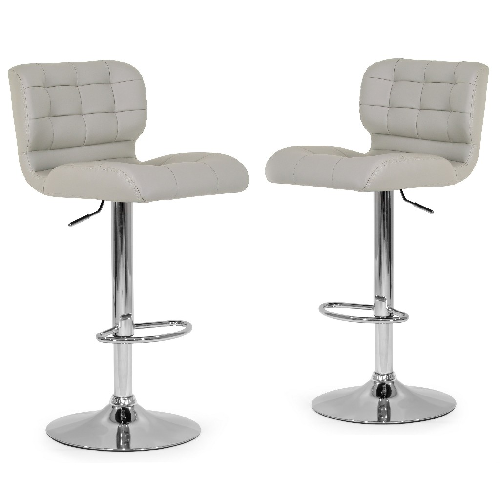 Adler Ashy Color Light Taupe Faux Leather Adjustable Height Bar Stool (Set of 2) - Glamour Home GHSTL-1200