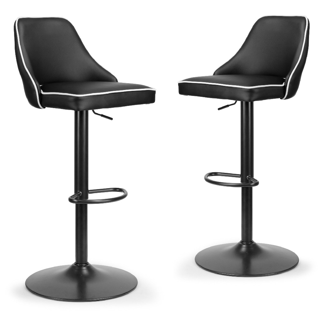Alston Black Adjustable Height Swivel Bar Stool W/ White Piping (set Of 2) - Glamour Home Ghstl-1255