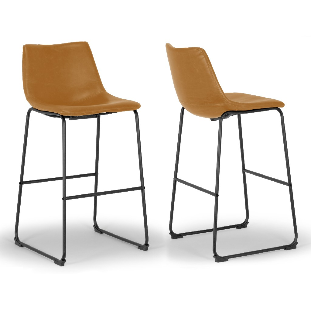 Adan Iron Frame Vintage Cappuccino Faux Leather Bar Stool (Set of 2) - Glamour Home GHSTL-1267