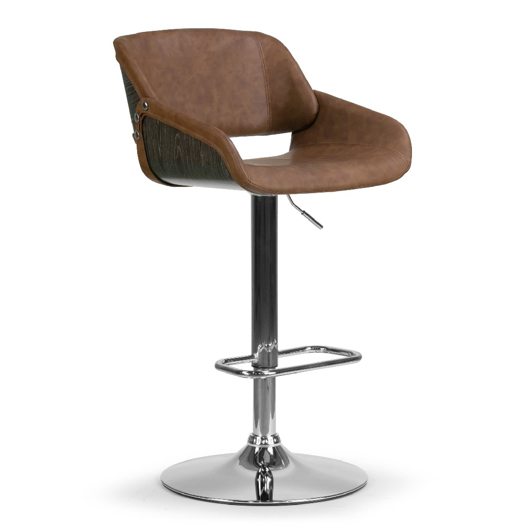 Amabel Brown Upholstered Adjustable Height Barstool w/ Grey Bentwood Accent Back - Glamour Home GHSTL-1281