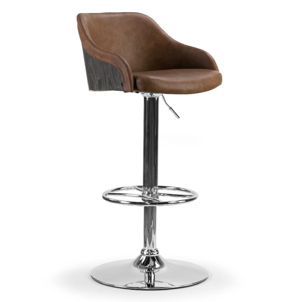 Amada Brown Upholstered Adjustable Height Barstool w/ Grey Plywood Back - Glamour Home GHSTL-1282