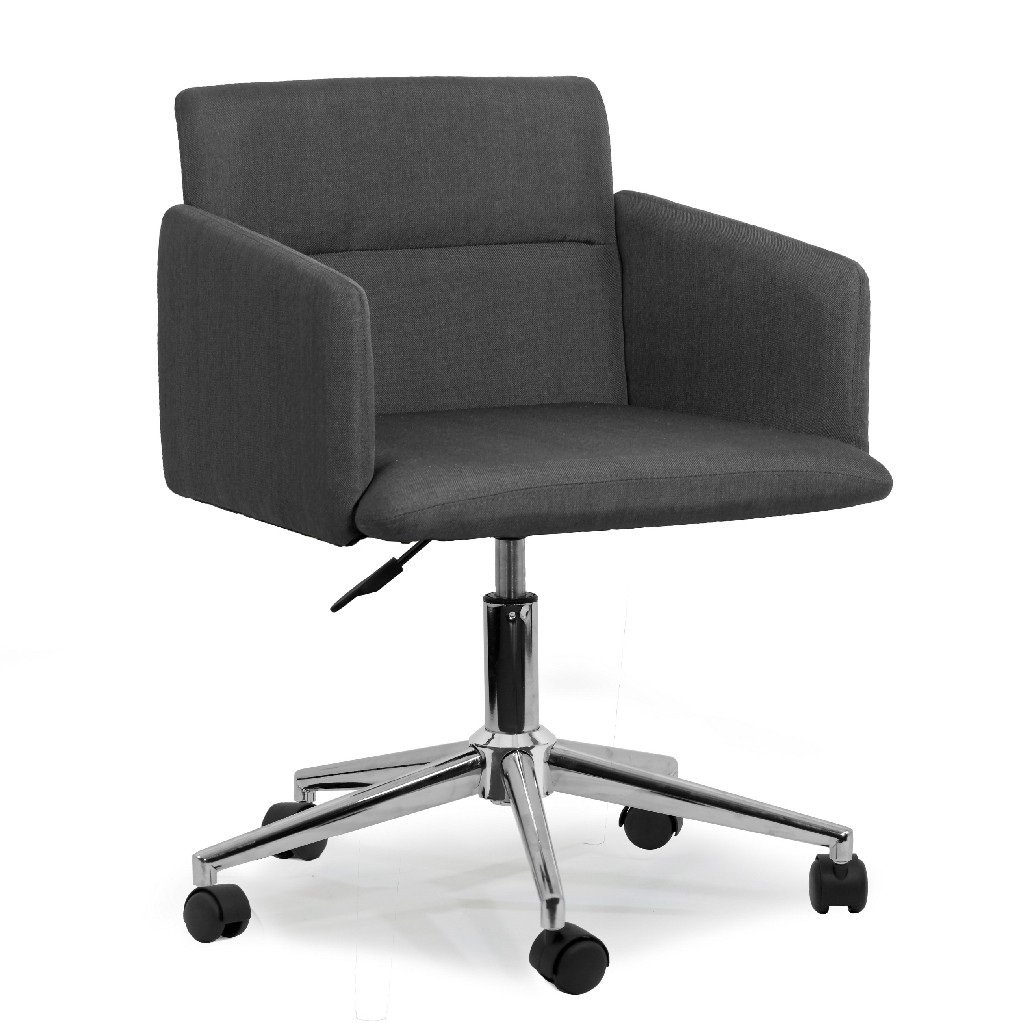 Aila Dark Grey Fabric Swivel Office Chair w/ Wheel Base - Glamour Home GHTSC-1157
