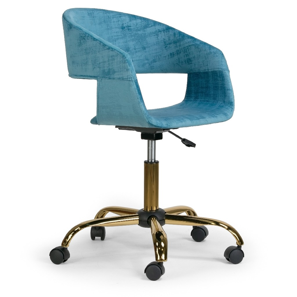 Amani Blue Velvet Office Chair w/ Golden Metal Base - Glamour Home GHTSC-1286