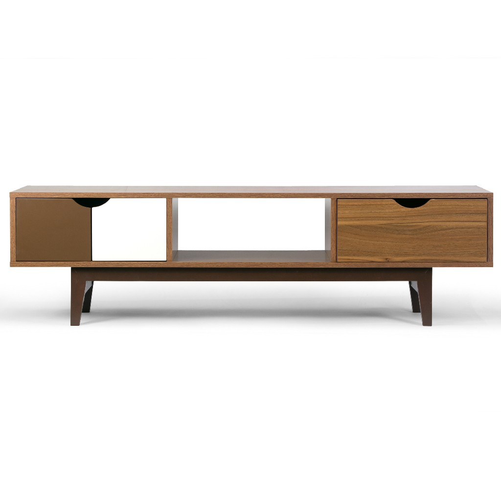Alvin Scandinavian Style Walnut Finish TV Stand w/ Contrasting Drawers - Glamour Home GHTVS-1260