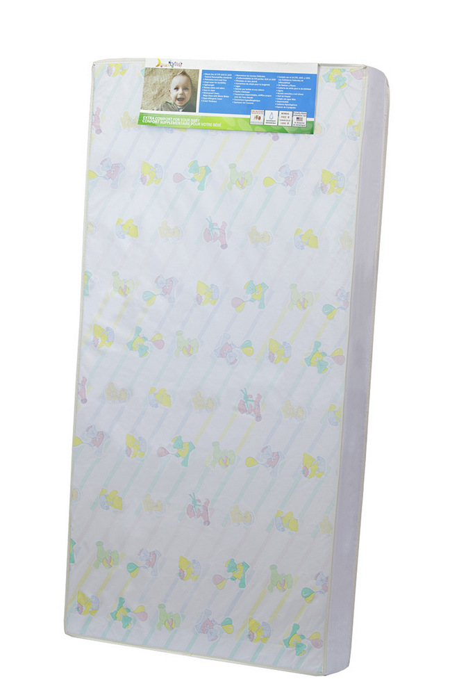 "4"" Full Size Foam Standard Crib & Toddler Mattress, Reversible Design in Printed And White - Dream On Me 1A4"
