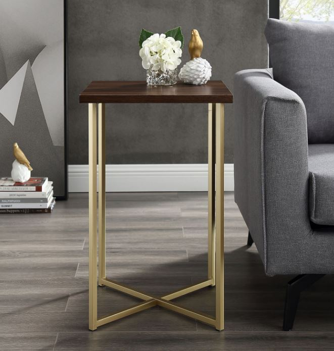 "16"" Modern Bohemian Square Side End Table Nightstand w/ Dark Walnut Top & Gold Legs - Walker Edison AF16LUXDWG"