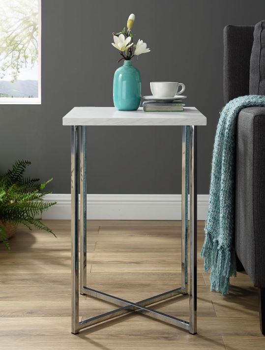 "16"" Modern Bohemian Square Side End Table Nightstand w/ White Marble Top & Chrome Legs - Walker Edison AF16LUXMCR"