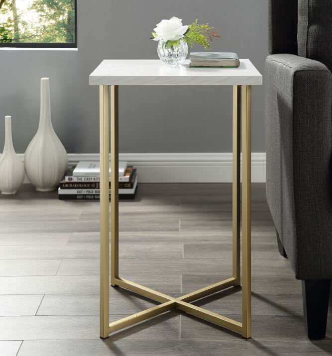 "16"" Modern Bohemian Square Side End Table Nightstand w/ White Marble Top & Gold Legs - Walker Edison AF16LUXWMG"