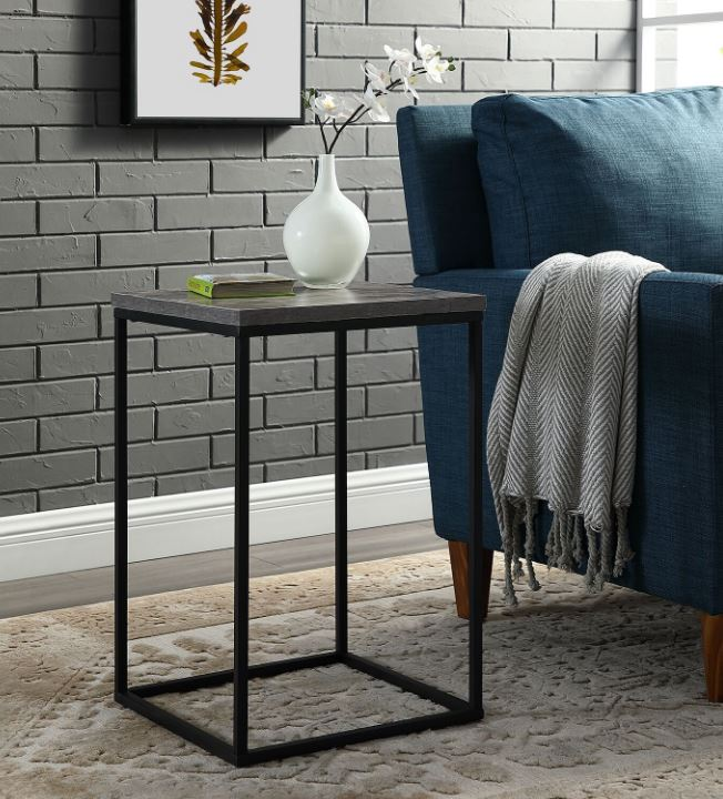 "16"" Modern Bohemian Urban Industrial Open Box Side Table in Dark Concrete - Walker Edison AF16LWSTDC"