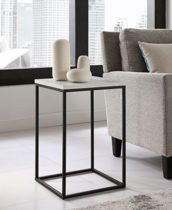 "16"" Modern Bohemian Urban Industrial Open Box Side Table in White Marble - Walker Edison AF16LWSTWM"