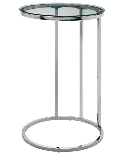 """16"""" Modern Round C Side End Table Nightstand w/ Clear Glass Top & Chrome Base - Walker Edison AF16RCSTGL"""