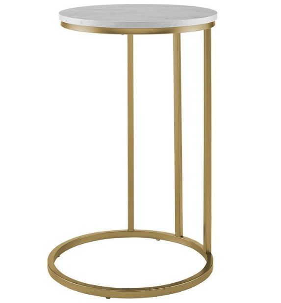 "16"" Modern Round C Side End Table Nightstand w/ White Marble Top & Gold Base - Walker Edison AF16RCSTWM"