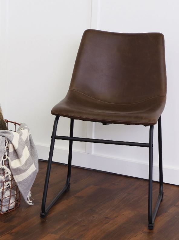 "18"" Industrial Faux Leather Dining Chair in Whiskey Brown (Set of 2) - Walker Edison CHL18WB"