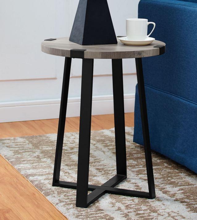 """18"""" Rustic Urban Industrial Wood & Metal Wrap Round Accent Side Table in Grey Wash - Walker Edison AF18MWSTGW"""