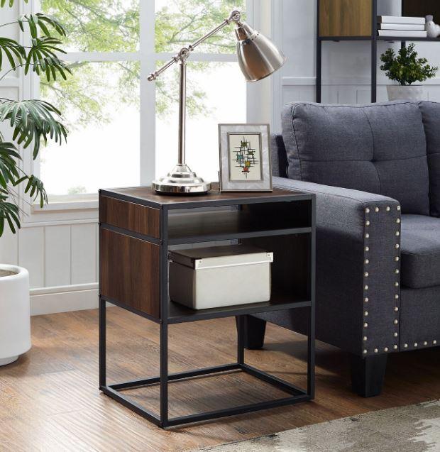 """20"""" Mid Century Modern Urban Industrial Metal & Wood Side Table w/ Open Shelf in Dark Walnut - Walker Edison AF20JERDW"""