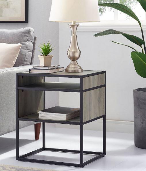 """20"""" Mid Century Modern Urban Industrial Metal & Wood Side Table w/ Open Shelf in Grey Wash - Walker Edison AF20JERGW"""