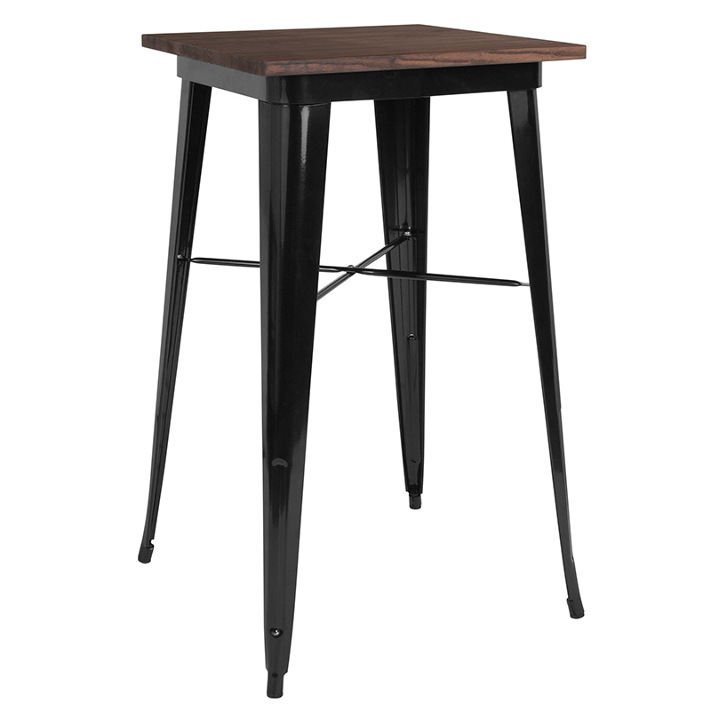 "23.5"" Square Black Metal Indoor Bar Height Table w/ Walnut Rustic Wood Top - Flash Furniture CH-31330-40M1-BK-GG"