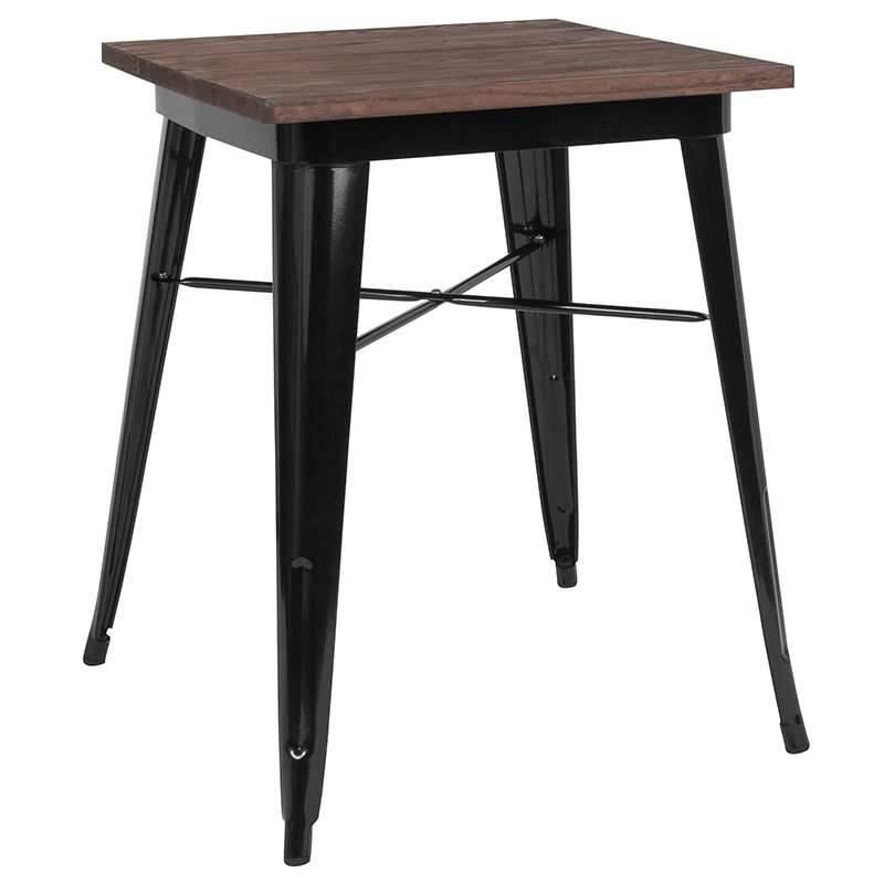 "23.5"" Square Black Metal Indoor Table w/ Walnut Rustic Wood Top - Flash Furniture CH-31330-29M1-BK-GG"