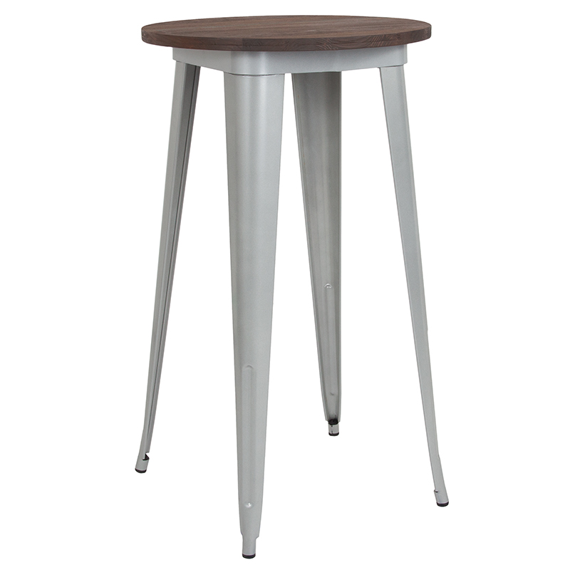 Furniture | Indoor | Height | Walnut | Silver | Flash | Metal | Round | Table | Wood | Bar | Top