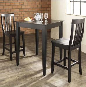 3 Piece Pub Dining Set w/ Tapered Leg & School House Stools in Black Finish - Crosley KD320007BK