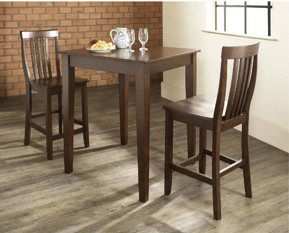 3 Piece Pub Dining Set w/ Tapered Leg & School House Stools in Vintage Mahogany Finish - Crosley KD320007MA