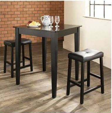 3 Piece Pub Dining Set w/ Tapered Leg & Upholstered Saddle Stools in Black Finish - Crosley KD320008BK