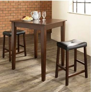 3 Piece Pub Dining Set w/ Tapered Leg & Upholstered Saddle Stools in Vintage Mahogany Finish - Crosley KD320008MA