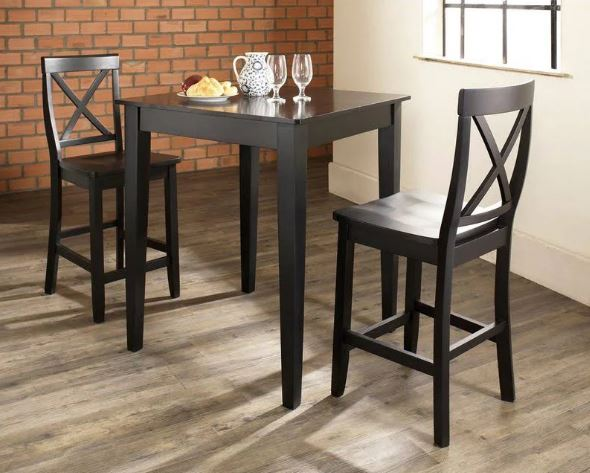 3 Piece Pub Dining Set w/ Tapered Leg & X-Back Stools in Black Finish - Crosley KD320005BK