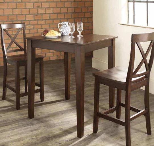 3 Piece Pub Dining Set w/ Tapered Leg & X-Back Stools in Vintage Mahogany Finish - Crosley KD320005MA