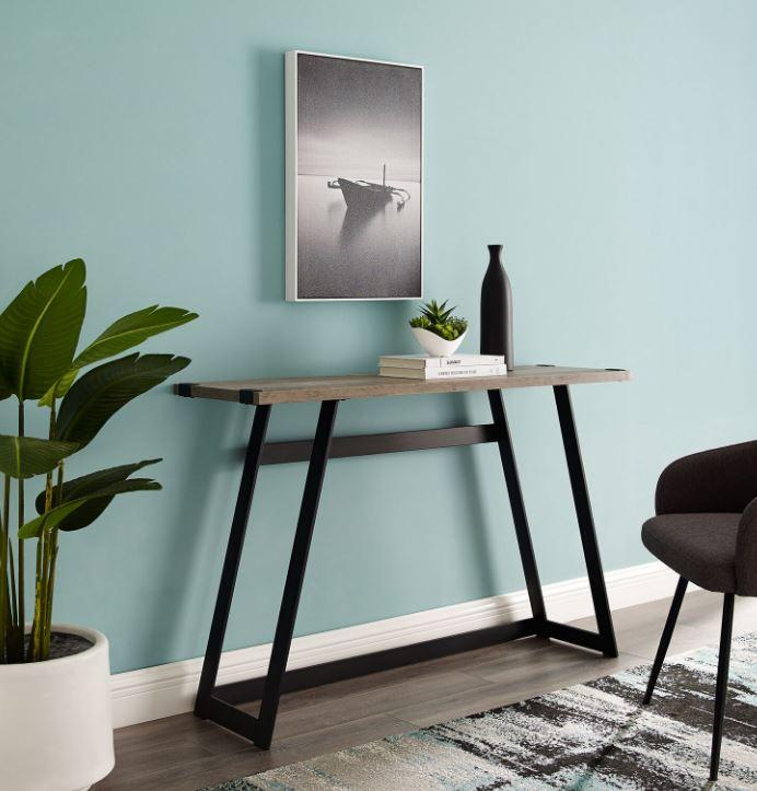 """Image of 46"""" Urban Industrial Metal Wrap Entry Console Sofa Table in Grey Wash - Walker Edison AF46MWETGW"""