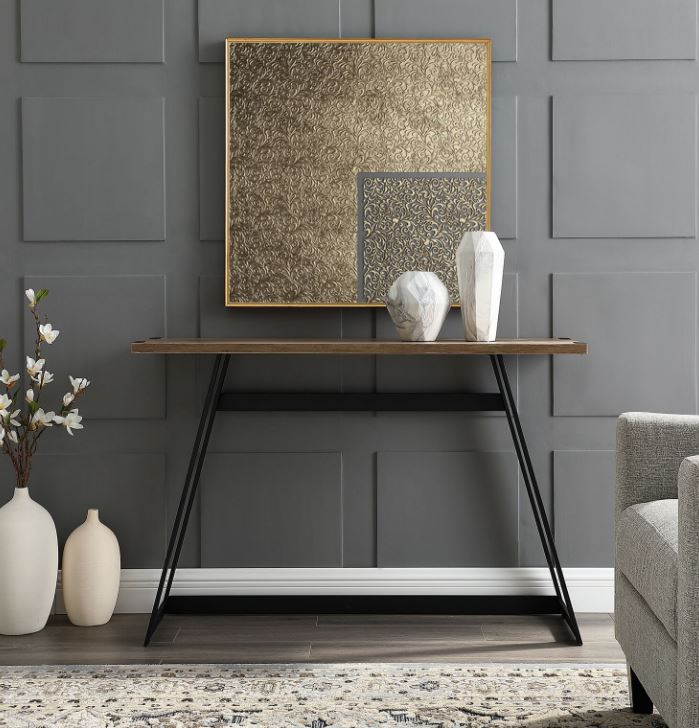 """Image of 46"""" Urban Industrial Metal Wrap Entry Console Sofa Table in Rustic Oak - Walker Edison AF46MWETRO"""