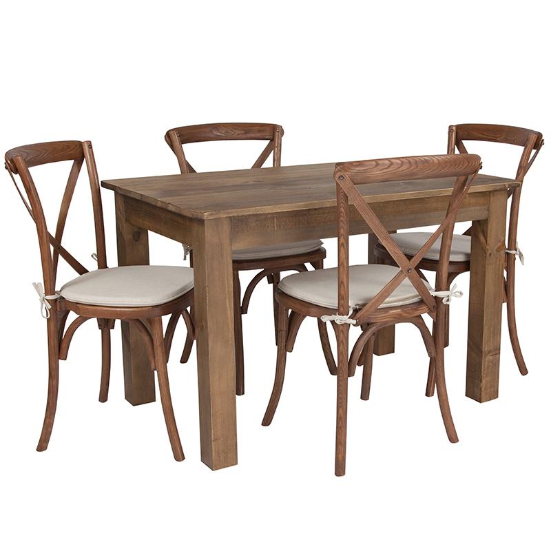 Flash Antique Rustic Farm Table Set Cross Back Chairs Cushions