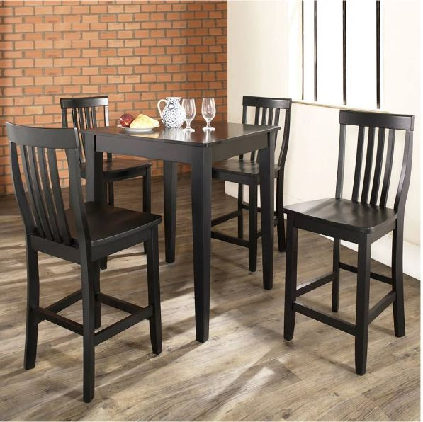 5 Piece Pub Dining Set w/ Tapered Leg & School House Stools in Black Finish - Crosley KD520007BK