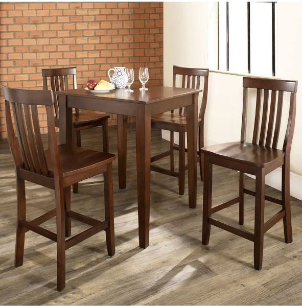 5 Piece Pub Dining Set w/ Tapered Leg & School House Stools in Vintage Mahogany Finish - Crosley KD520007MA