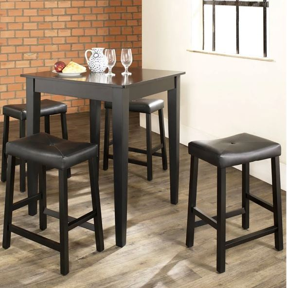 5 Piece Pub Dining Set w/ Tapered Leg & Upholstered Saddle Stools in Black Finish - Crosley KD520008BK