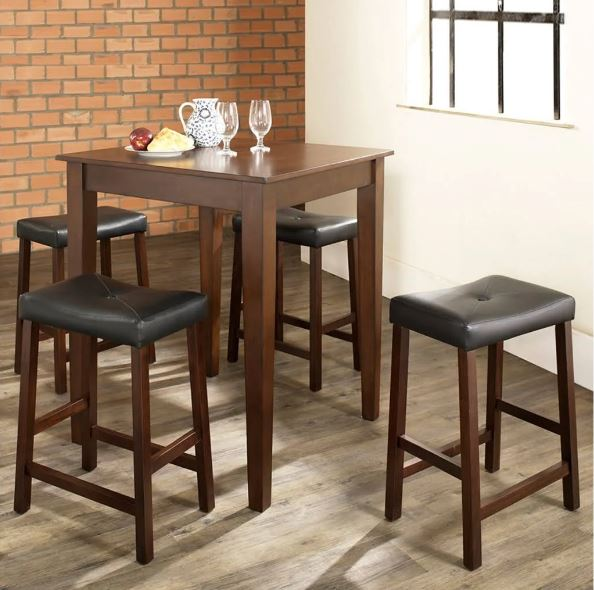 5 Piece Pub Dining Set w/ Tapered Leg & Upholstered Saddle Stools in Vintage Mahogany Finish - Crosley KD520008MA