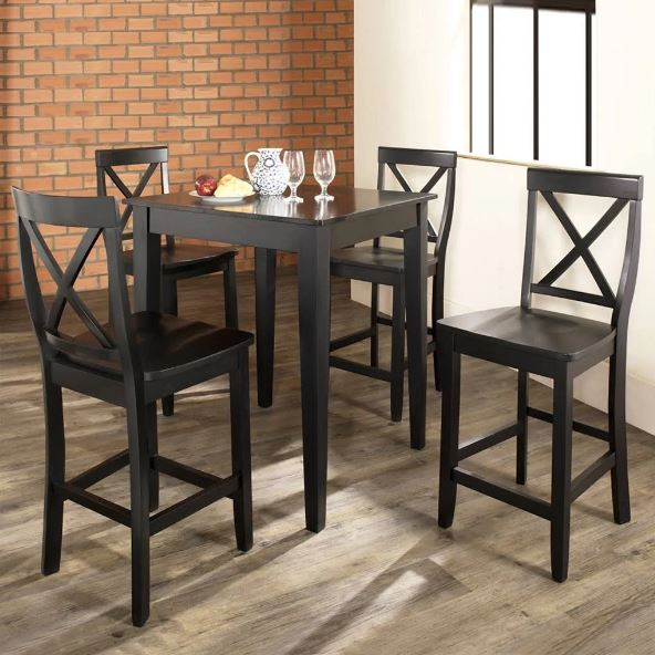 5 Piece Pub Dining Set w/ Tapered Leg & X-Back Stools in Black Finish - Crosley KD520005BK