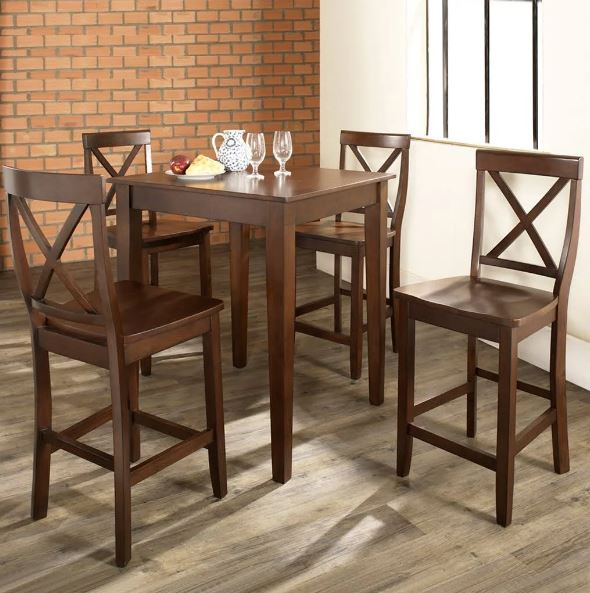 5 Piece Pub Dining Set w/ Tapered Leg & X-Back Stools in Vintage Mahogany Finish - Crosley KD520005MA