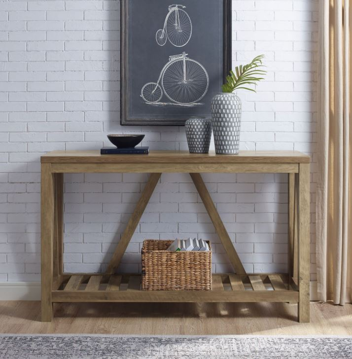 """Image of 52"""" A-Frame Rustic Entry Console Table in Rustic Oak - Walker Edison AF52AFTRO"""