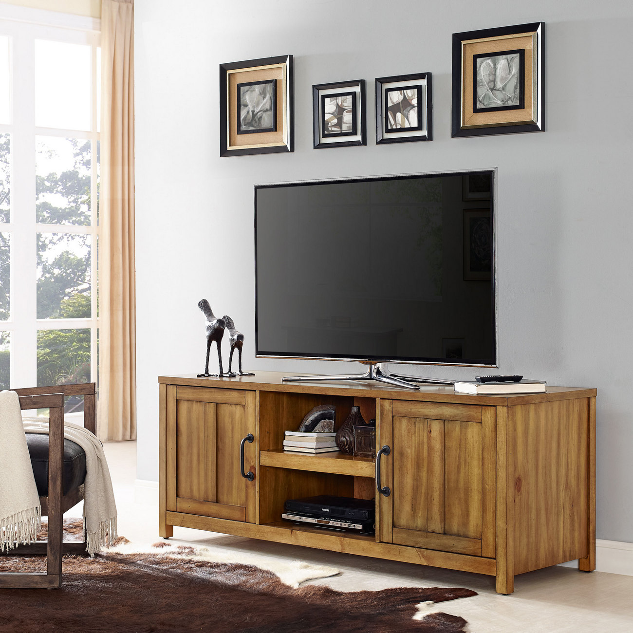 """60"""" Roots TV Stand in Natural - Crosley CF101160-NA"""