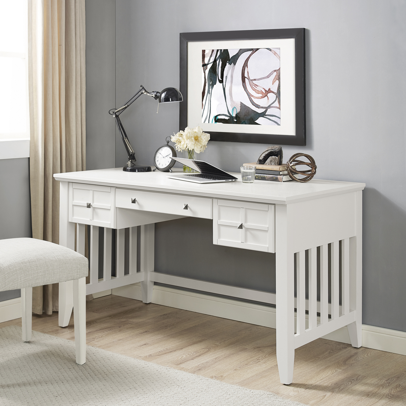 Adler Computer Desk in White Finish - Crosley CF6508-WH
