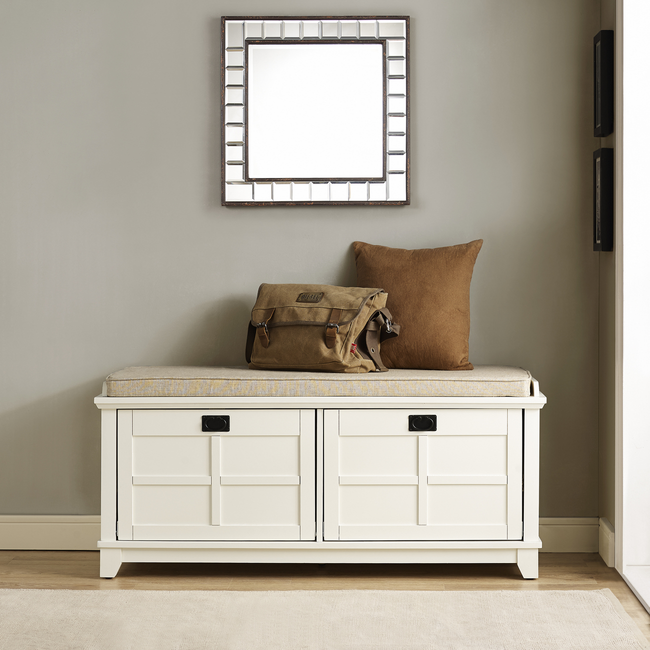 Adler Entryway Bench in White Finish - Crosley CF6009-WH