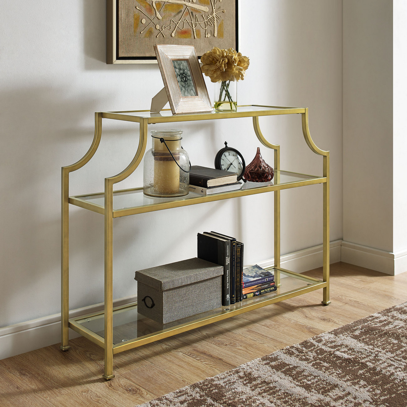 Aimee Glass Console Table - Crosley CF1307-GL