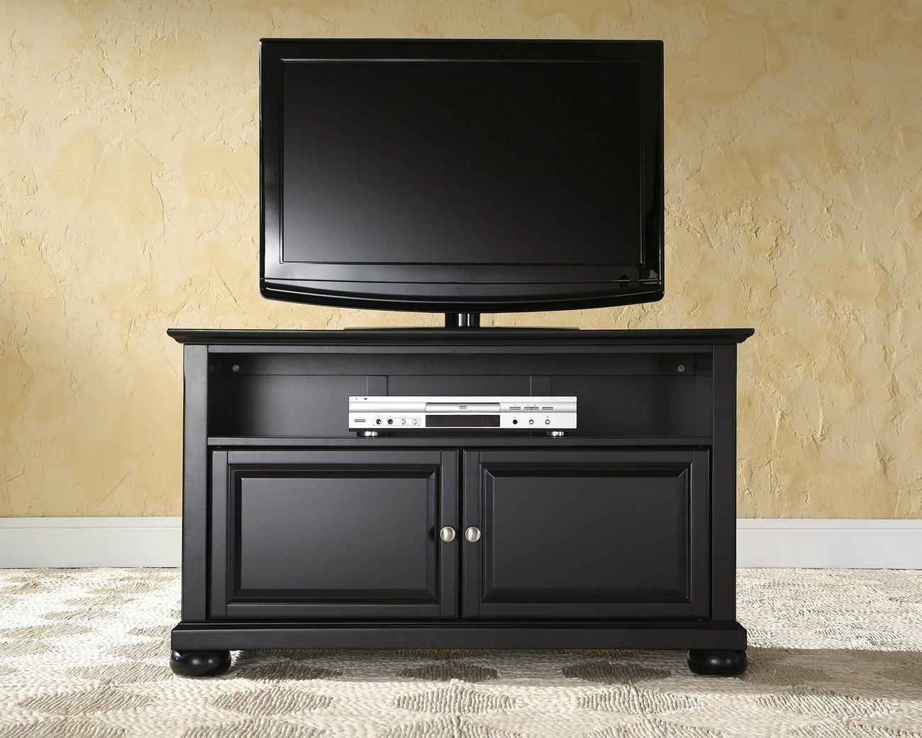"Alexandria 42"" TV Stand in Black Finish - Crosley KF10003ABK"