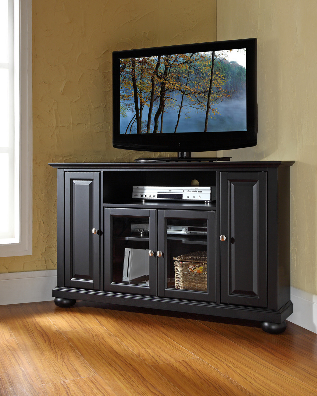 "Alexandria 48"" Corner TV Stand in Black Finish - Crosley KF10006ABK"
