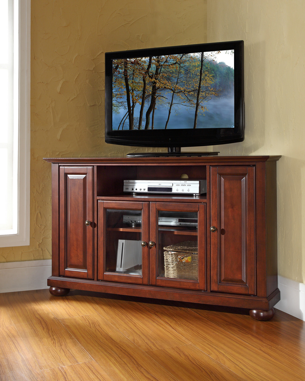 """Alexandria 48"""" Corner TV Stand in Vintage Mahogany Finish - Crosley KF10006AMA"""
