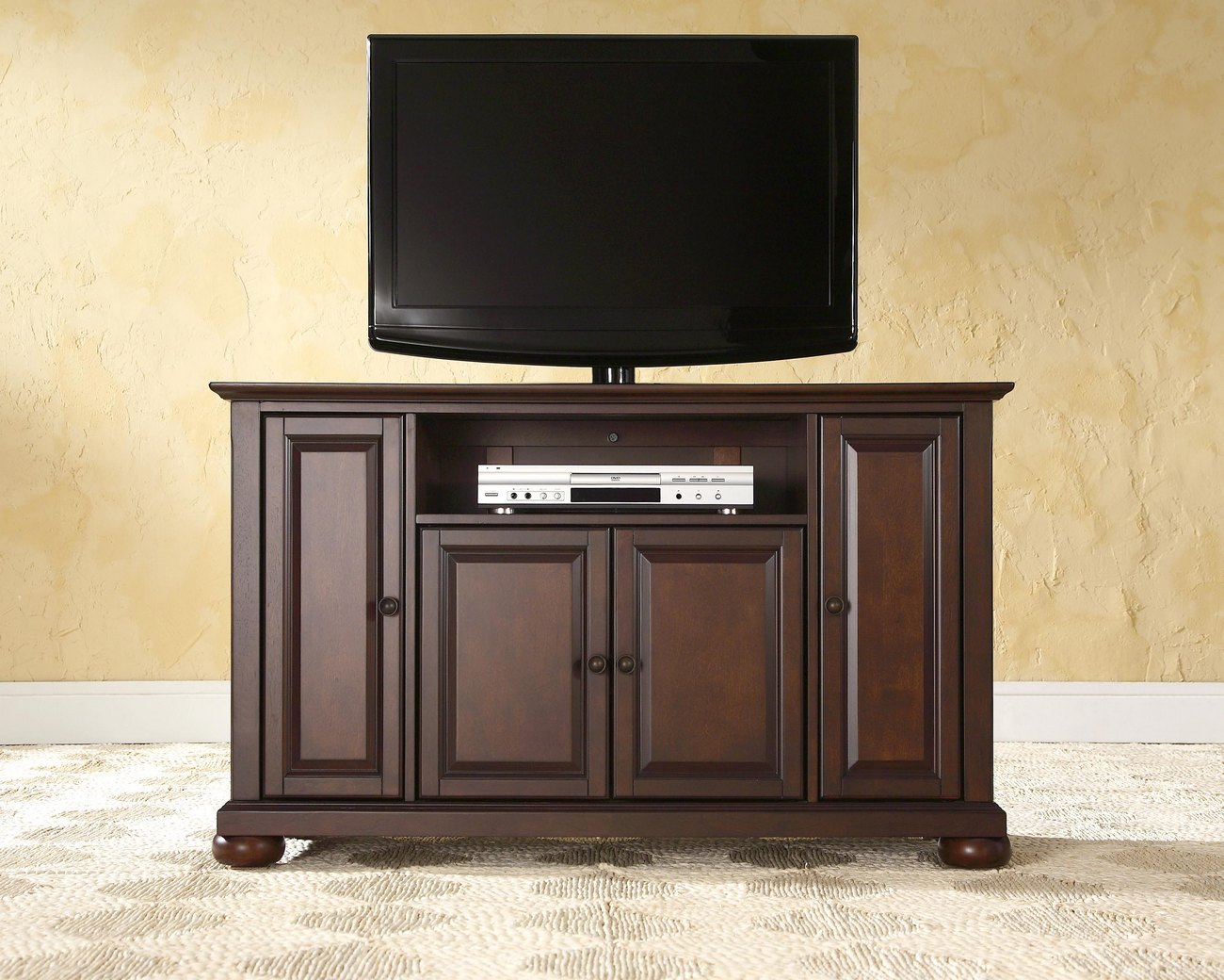 "Alexandria 48"" TV Stand in Vintage Mahogany Finish - Crosley KF10002AMA"
